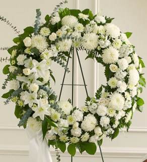 Serene Blessings White Standing Wreath